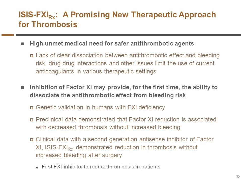 ISIS-FXIRx: A Promising New Therapeutic Approach for Thrombosis