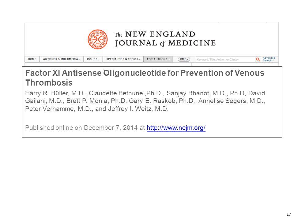 Factor XI Antisense Oligonucleotide for Prevention of Venous Thrombosis
