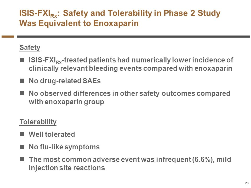 ISIS-FXIRx: Safety and Tolerability in Phase 2 Study Was Equivalent to Enoxaparin