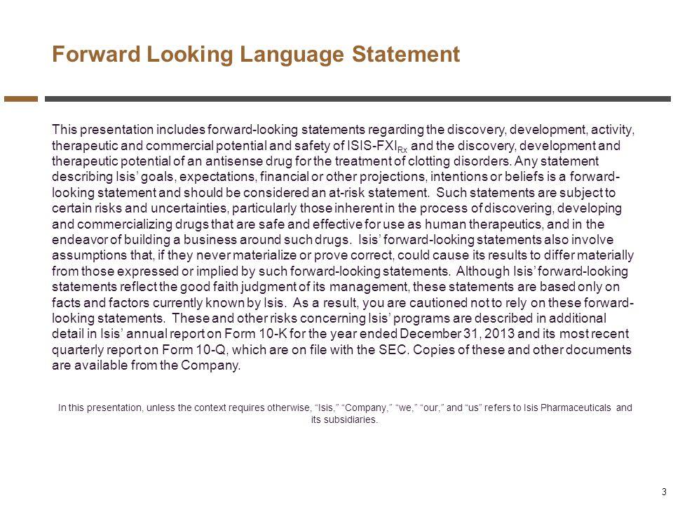 Forward Looking Language Statement