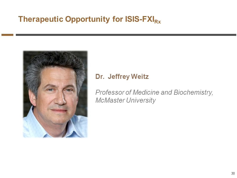 Therapeutic Opportunity for ISIS-FXIRx