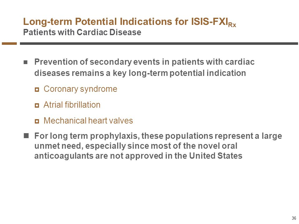 Long-term Potential Indications for ISIS-FXIRx Patients with Cardiac Disease
