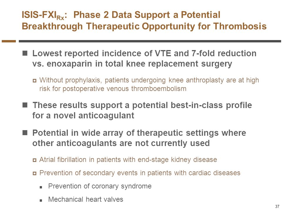 ISIS-FXIRx: Phase 2 Data Support a Potential Breakthrough Therapeutic Opportunity for Thrombosis