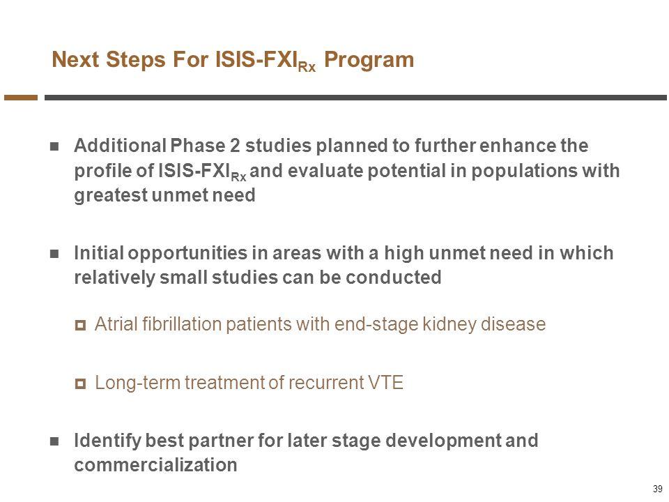 Next Steps For ISIS-FXIRx Program