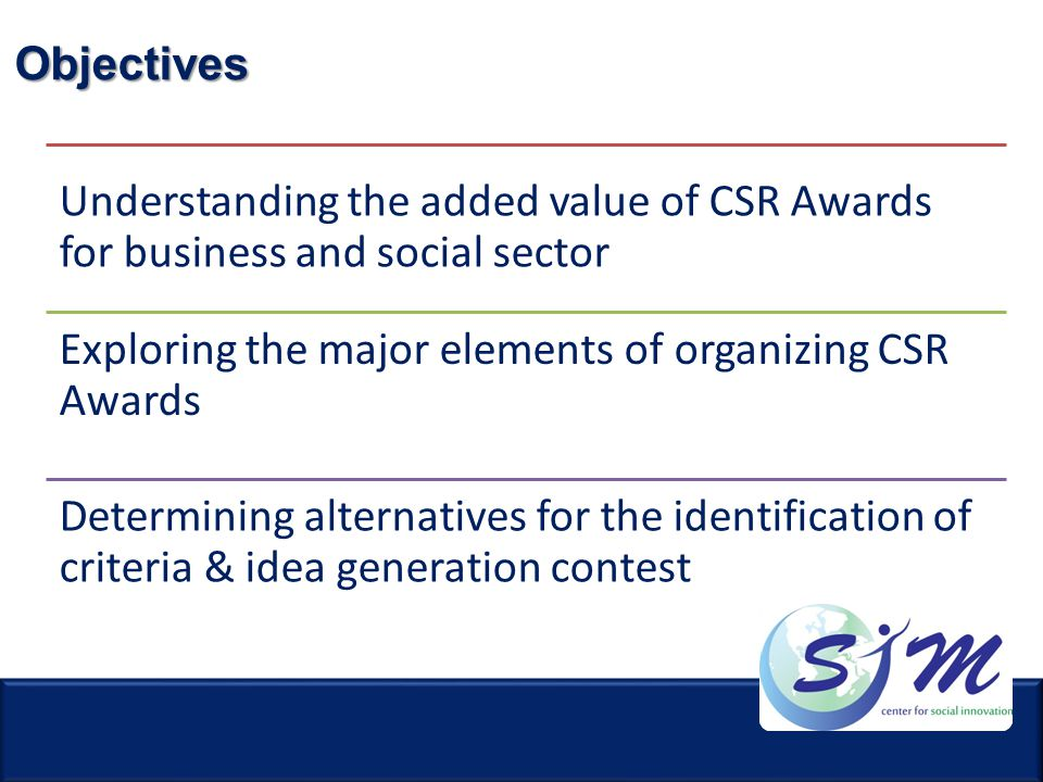 Objectives Understanding the added value of CSR Awards for business and social sector.
