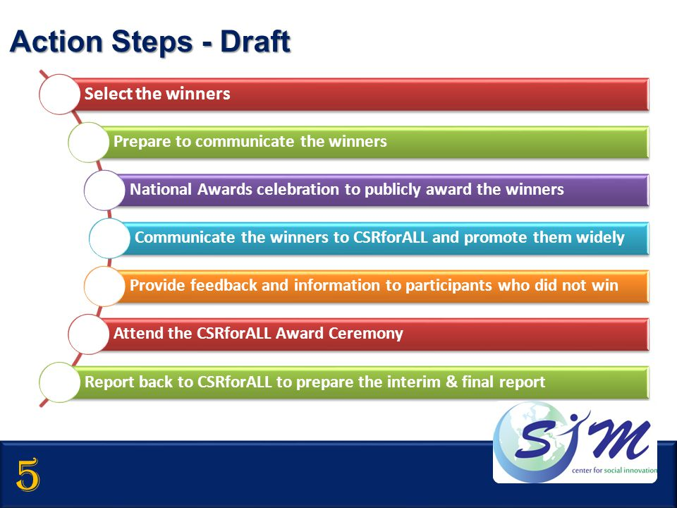 5 Action Steps - Draft Select the winners