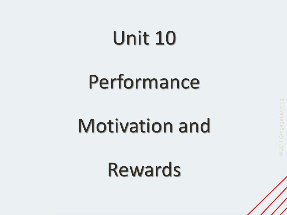 Unit 10 Performance Motivation and Rewards