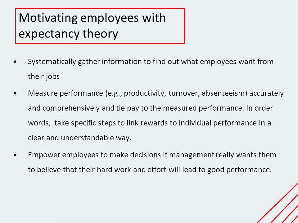 Motivating employees with expectancy theory