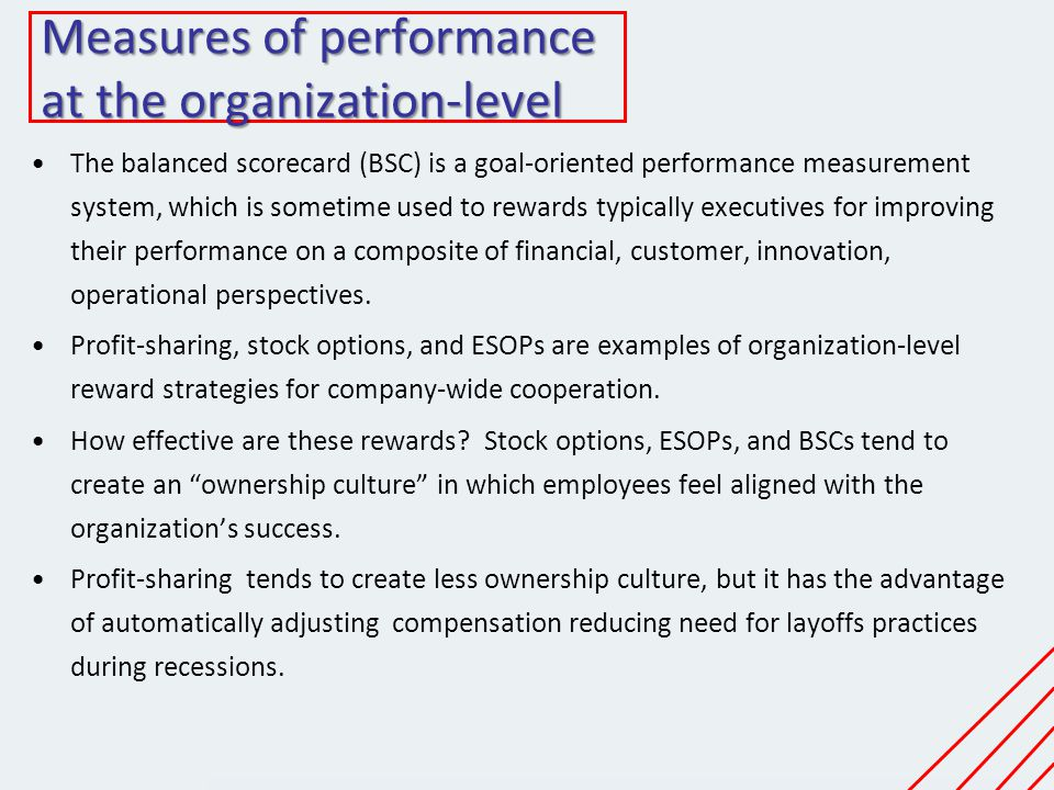 Measures of performance at the organization-level