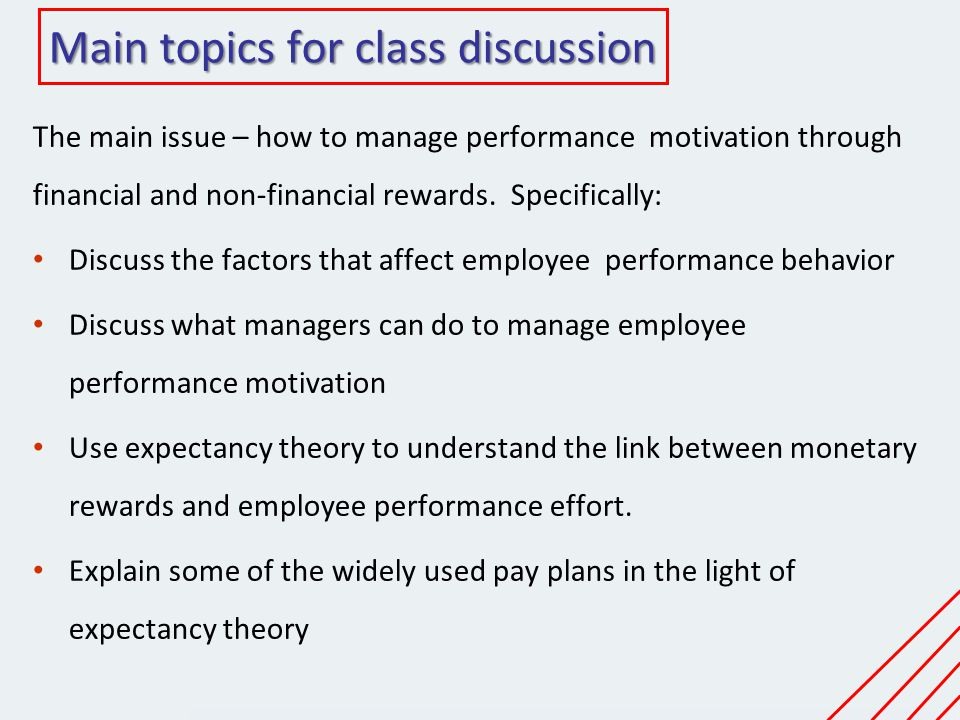 Main topics for class discussion