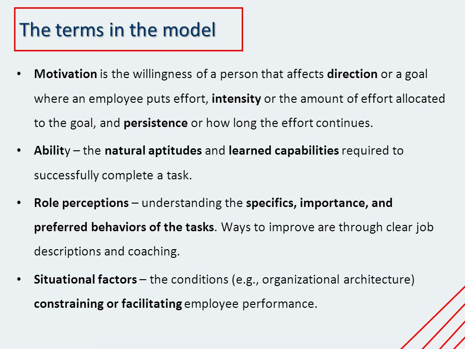 The terms in the model