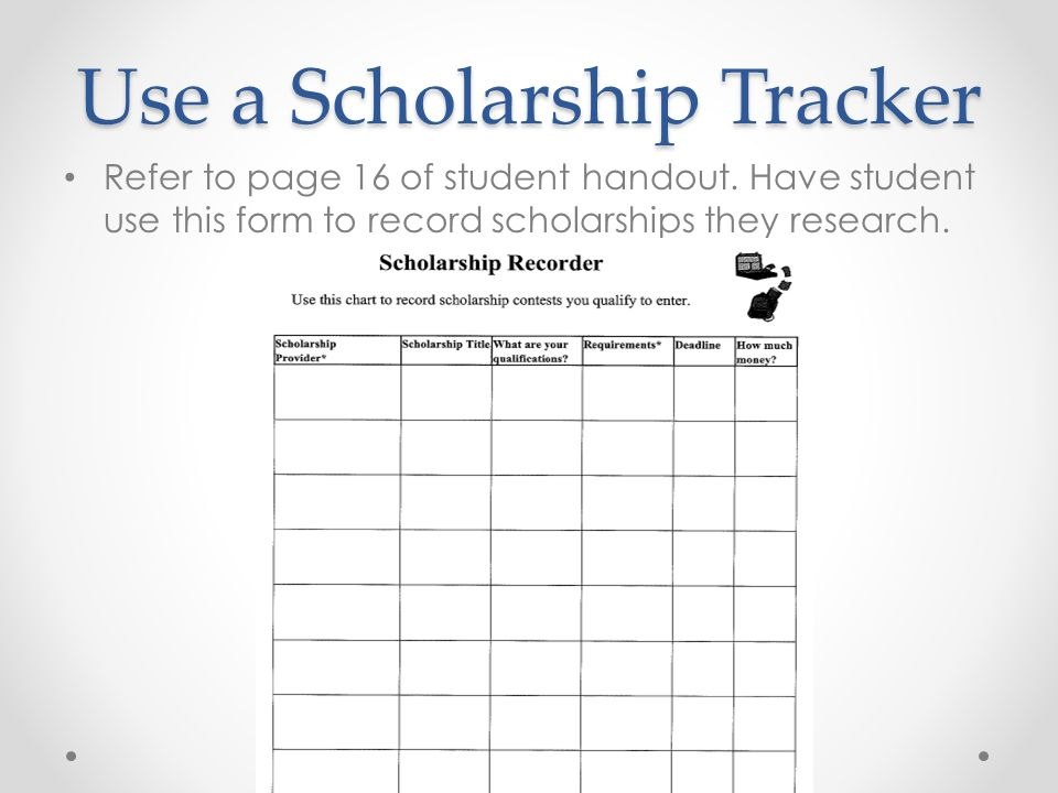 Use a Scholarship Tracker
