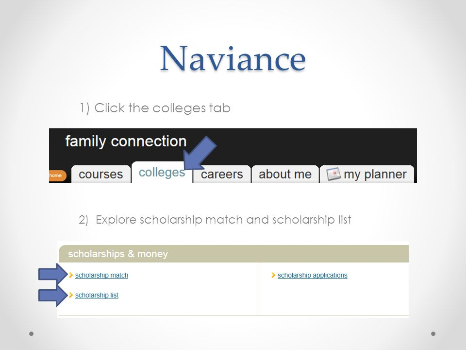 Naviance 1) Click the colleges tab