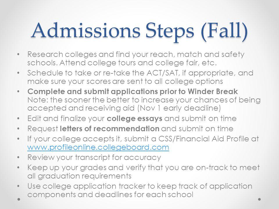 Admissions Steps (Fall)