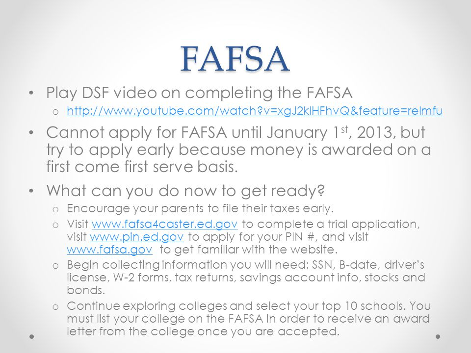 FAFSA Play DSF video on completing the FAFSA