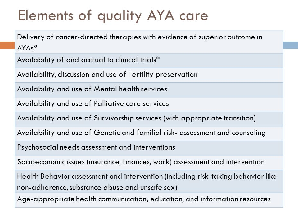 Elements of quality AYA care