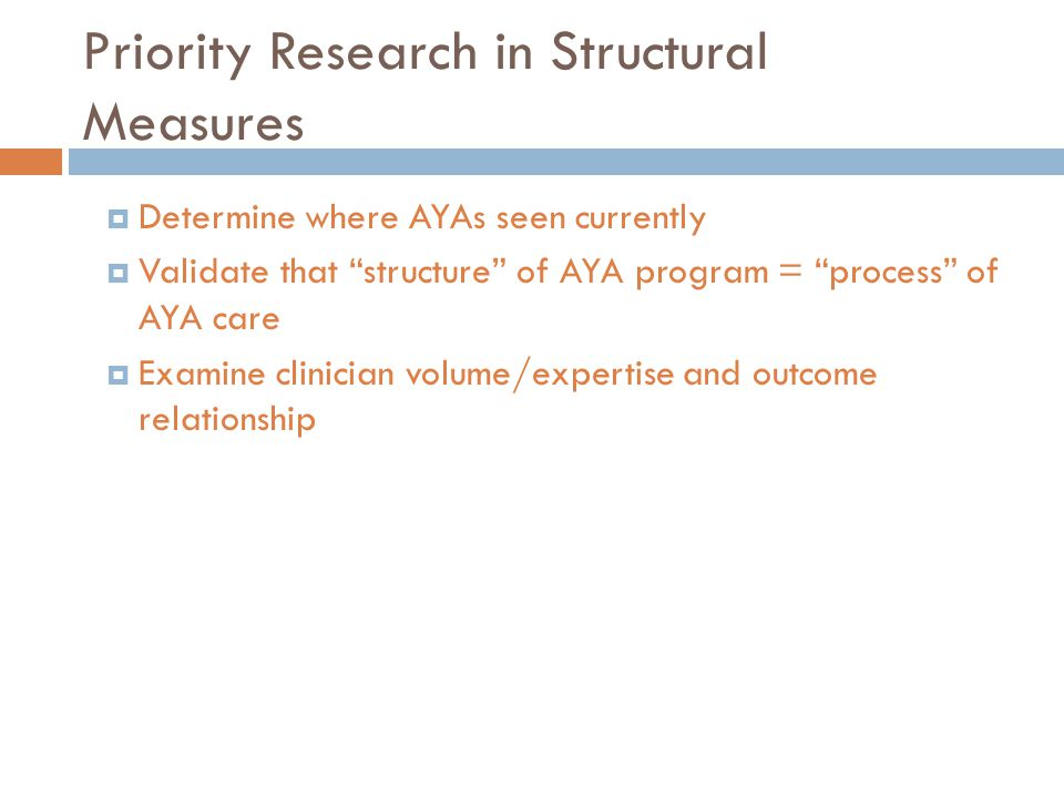 Priority Research in Structural Measures