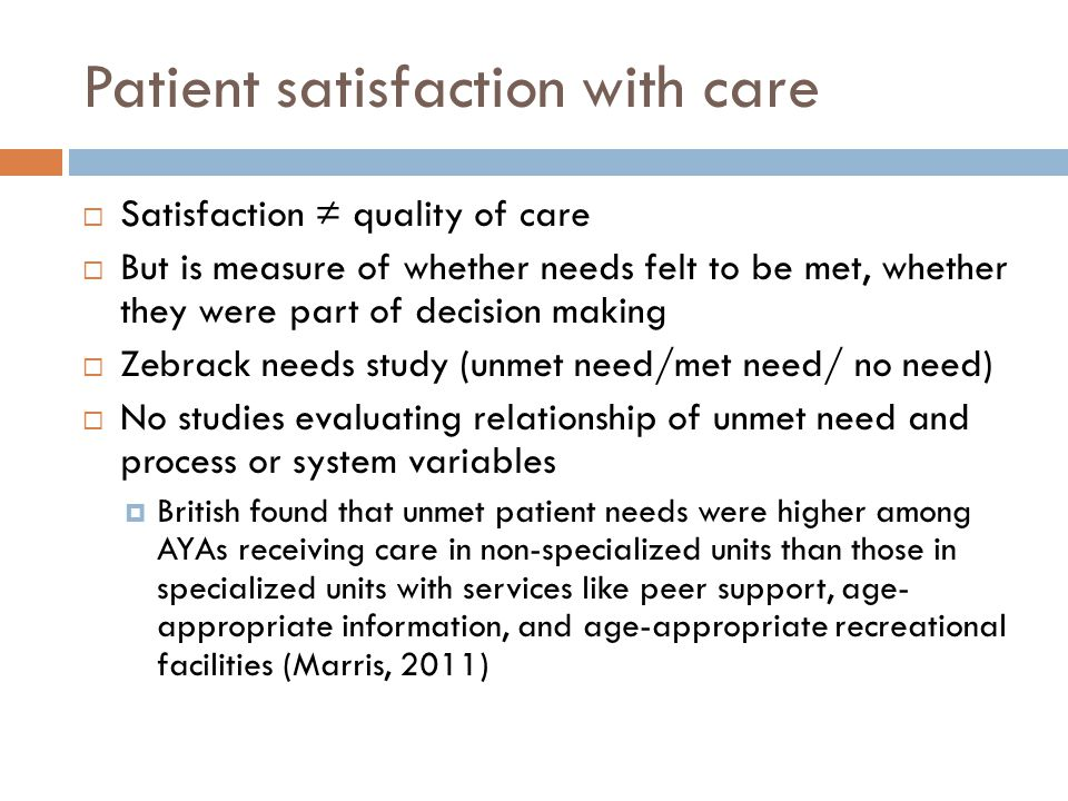 Patient satisfaction with care