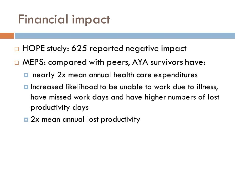 Financial impact HOPE study: 625 reported negative impact