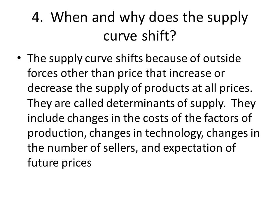 4. When and why does the supply curve shift