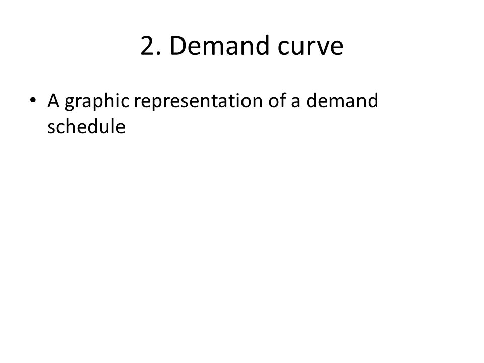 2. Demand curve A graphic representation of a demand schedule