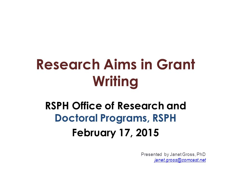 Research Aims in Grant Writing