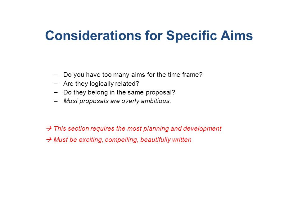 Considerations for Specific Aims