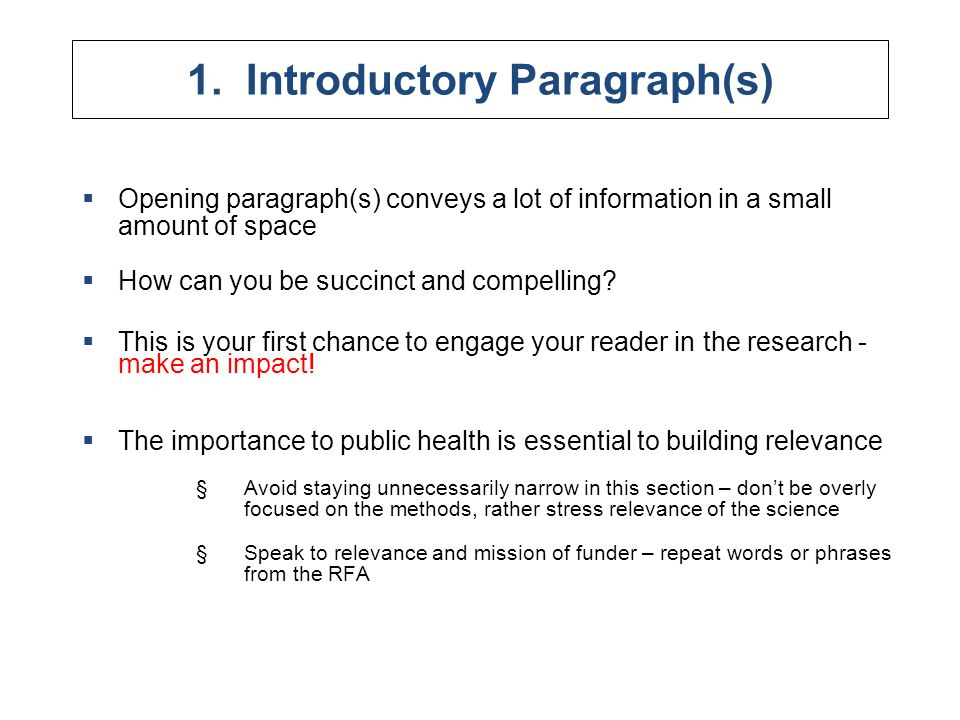 1. Introductory Paragraph(s)