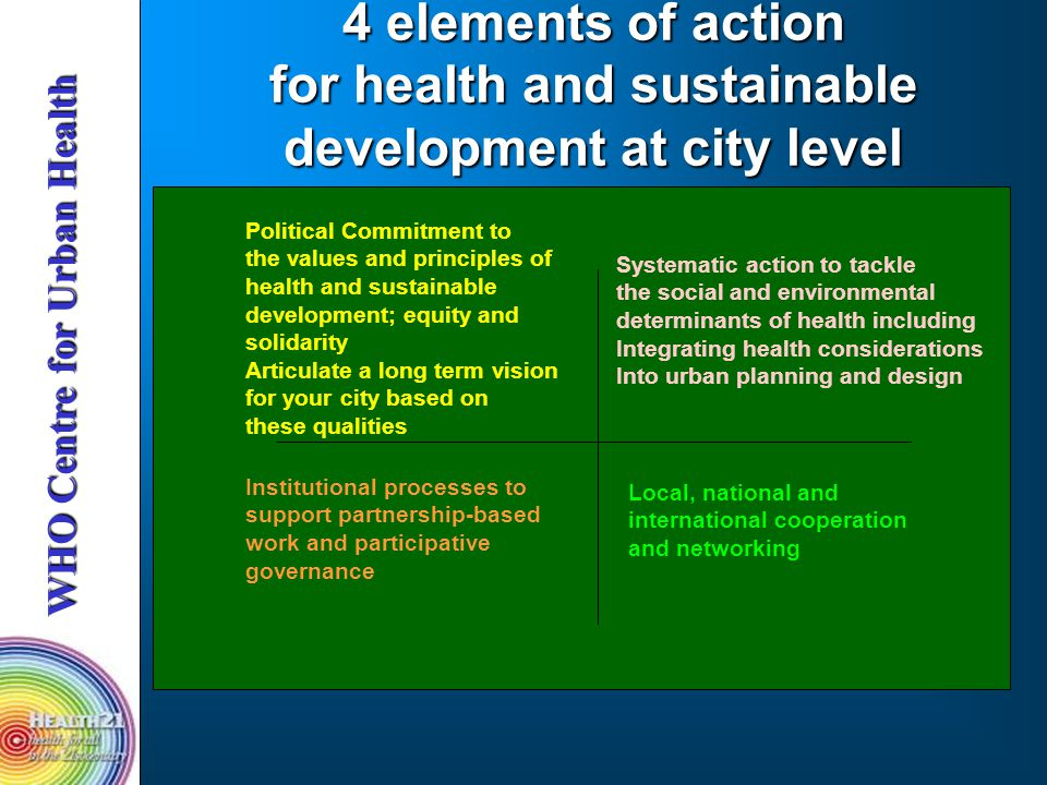 4 elements of action for health and sustainable development at city level