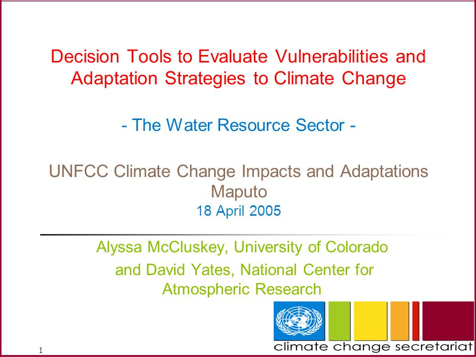 Decision Tools to Evaluate Vulnerabilities and Adaptation Strategies to Climate Change - The Water Resource Sector - UNFCC Climate Change Impacts and Adaptations Maputo 18 April 2005