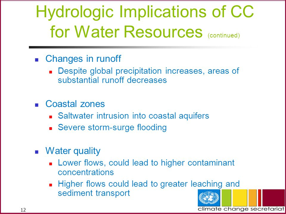Hydrologic Implications of CC for Water Resources (continued)