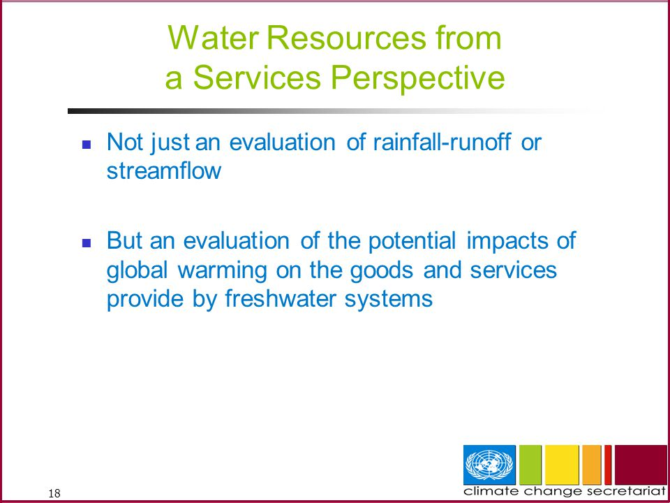 Water Resources from a Services Perspective