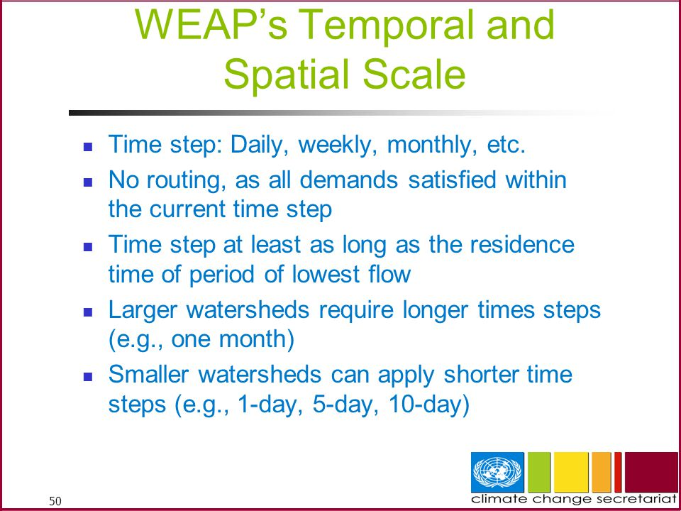 WEAP's Temporal and Spatial Scale