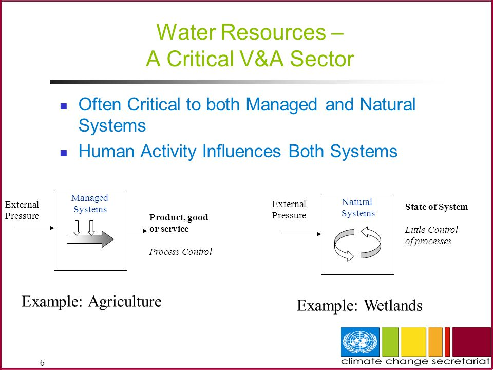 Water Resources – A Critical V&A Sector