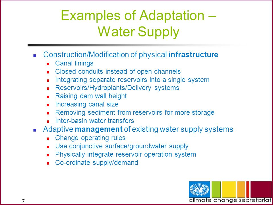 Examples of Adaptation – Water Supply