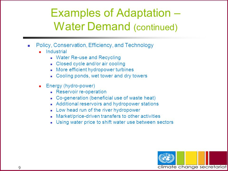 Examples of Adaptation – Water Demand (continued)