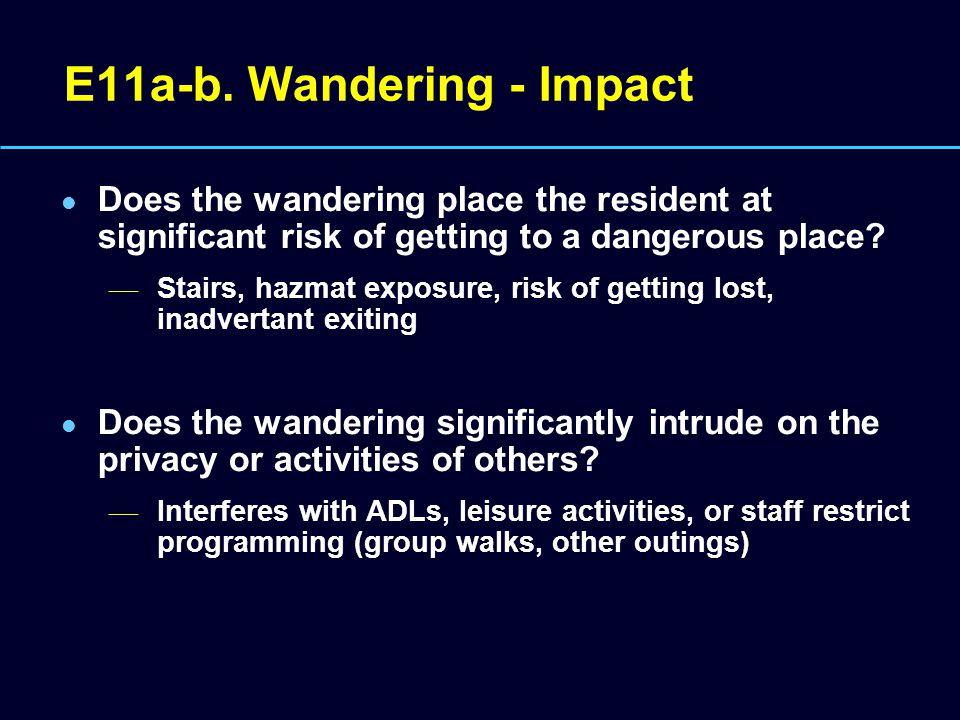 E11a-b. Wandering - Impact