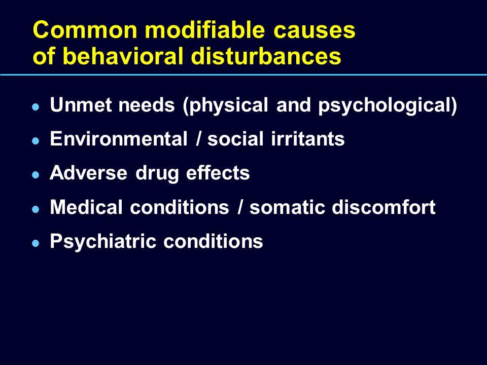Common modifiable causes of behavioral disturbances