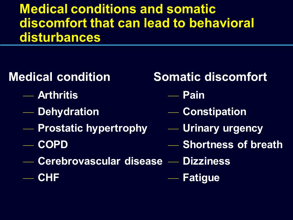 Medical conditions and somatic discomfort that can lead to behavioral disturbances