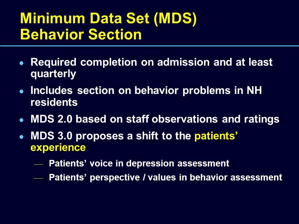 Minimum Data Set (MDS) Behavior Section