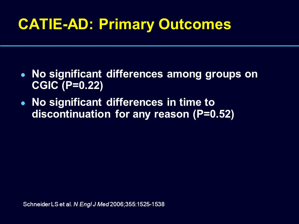 CATIE-AD: Primary Outcomes