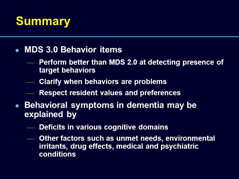 Summary MDS 3.0 Behavior items