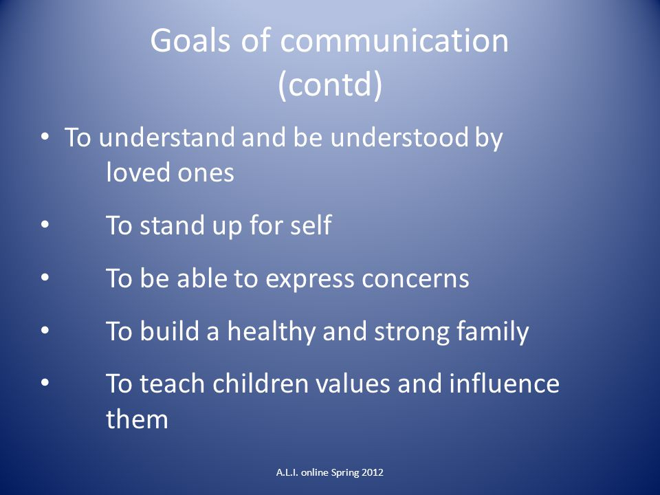 Goals of communication (contd)