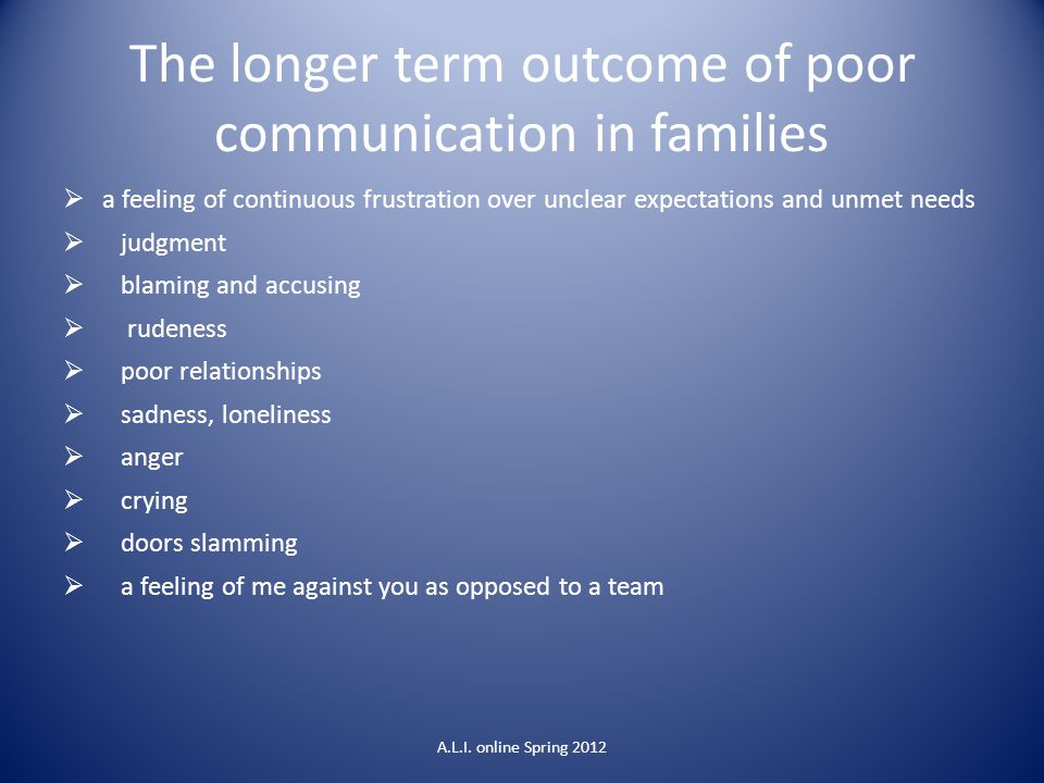 The longer term outcome of poor communication in families
