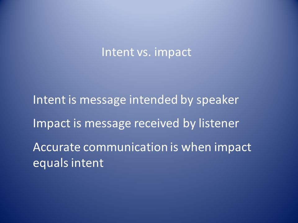 Intent vs. impact Intent is message intended by speaker. Impact is message received by listener.