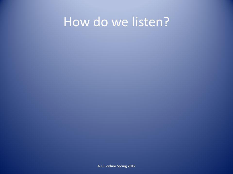 How do we listen A.L.I. online Spring 2012
