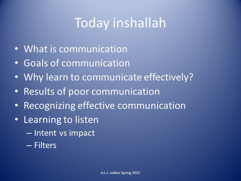 Today inshallah What is communication Goals of communication