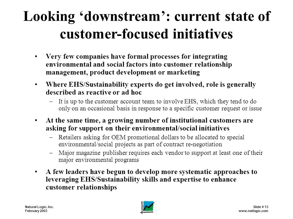 Looking 'downstream': current state of customer-focused initiatives