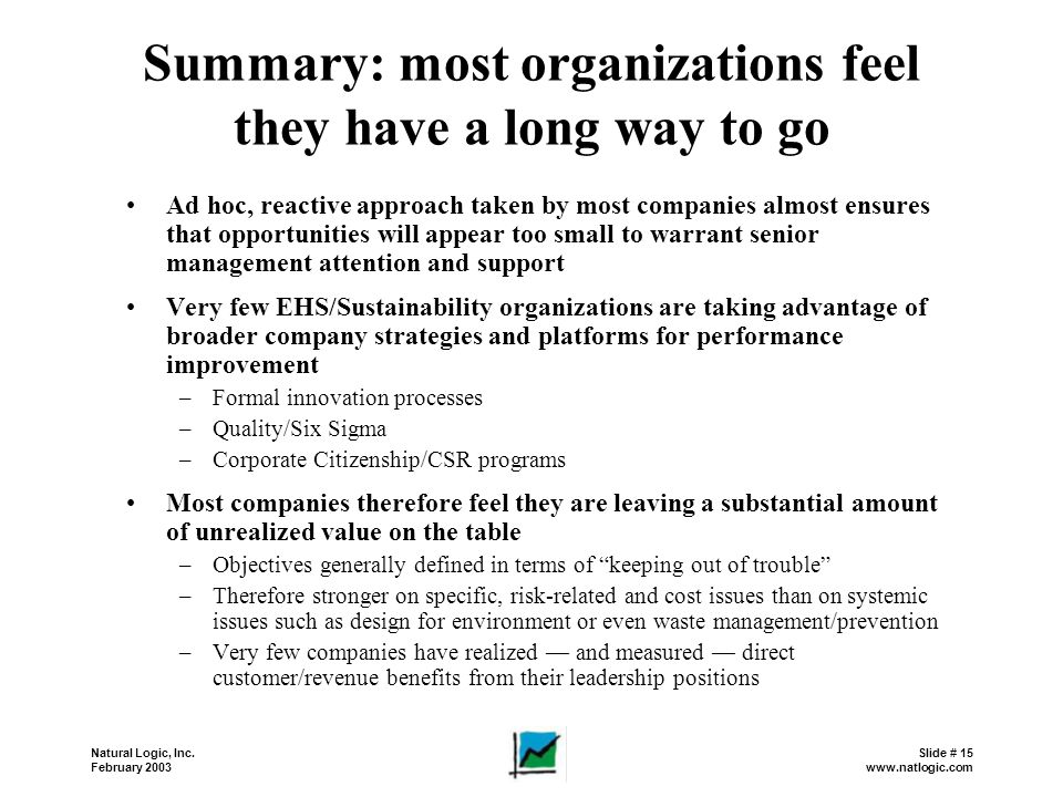Summary: most organizations feel they have a long way to go