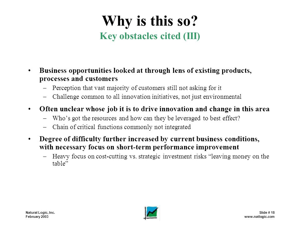 Key obstacles cited (III)
